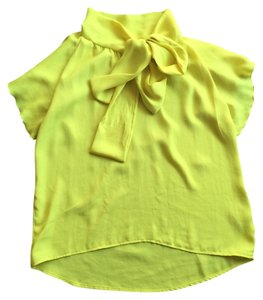 Mystic Neck Tie Trendy Blouse Date Night Top Yellow