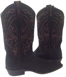 Frye Suede Waxed Distressed Stitch Cowgirl Black Boots
