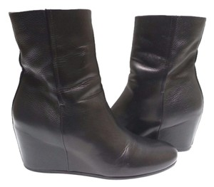 Vince Leather Wedge Ankle Black Boots