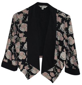 H21 Floral Work Casual Roses Black Blazer