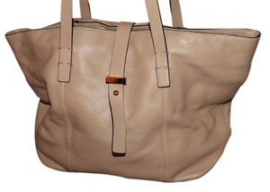 Halogen Leather Gold Hardware Tote in Tan