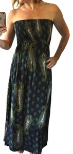 Green / Multi Maxi Dress by Xhilaration Strapless Sundress Fun Bright