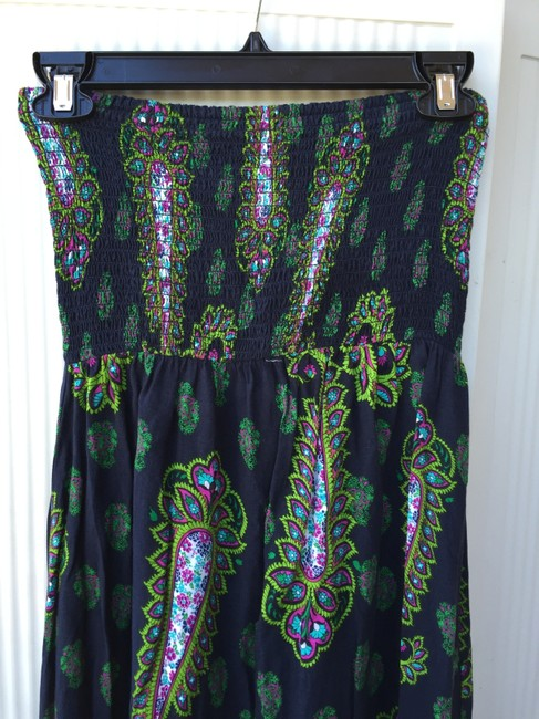 Green / Multi Maxi Dress by Xhilaration Strapless Sundress Fun Bright Image 3
