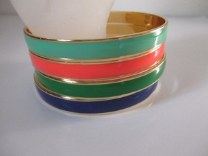 Gap Gap Multi Color Enamel Gold Stackable Bangle Set Of Each