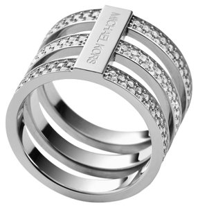 Michael Kors 50% OFF! BRAND NEW Michael Kors Size 8 SILVER Clear Pave Tri-Stack Ring