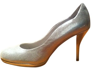 Elie Tahari Holiday Leather Prom Metallic Silver Pumps