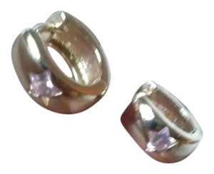 petite gold hoops with pink topaz stars