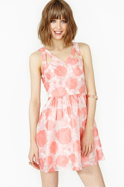 Nasty Gal short dress Pink and white Floral Wedding Summer Spring Roses on Tradesy Image 4