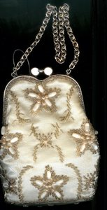 Unknown Beaded Satin Champagne Clutch