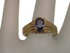Estate Vintage 14k Yellow Gold Genuine Blue Sapphire & Diamonds Ring, 1950's