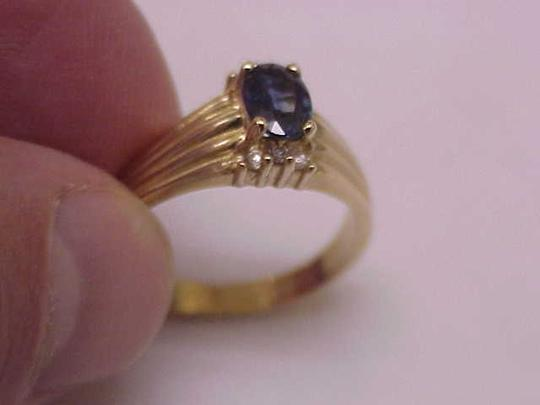 Other Estate Vintage 14k Yellow Gold Genuine Blue Sapphire & Diamonds Ring Image 3