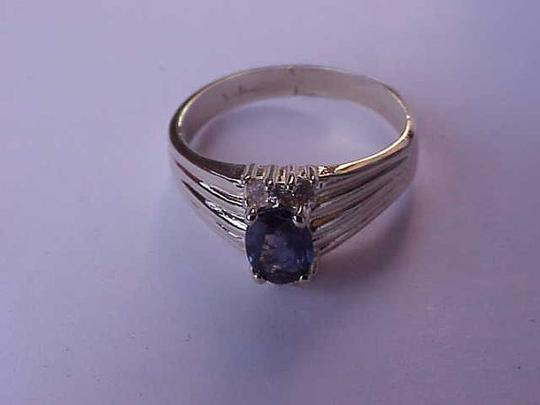 Other Estate Vintage 14k Yellow Gold Genuine Blue Sapphire & Diamonds Ring Image 5