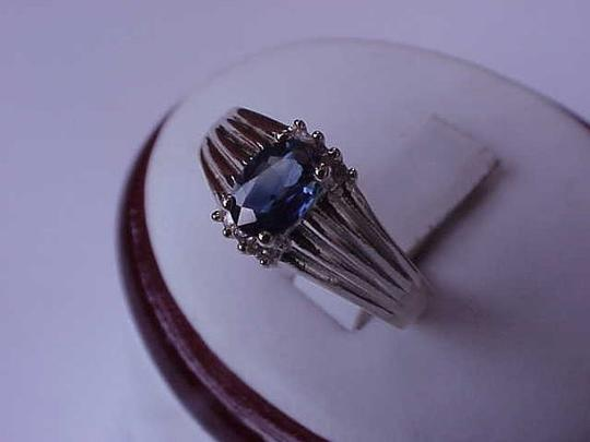 Other Estate Vintage 14k Yellow Gold Genuine Blue Sapphire & Diamonds Ring Image 6