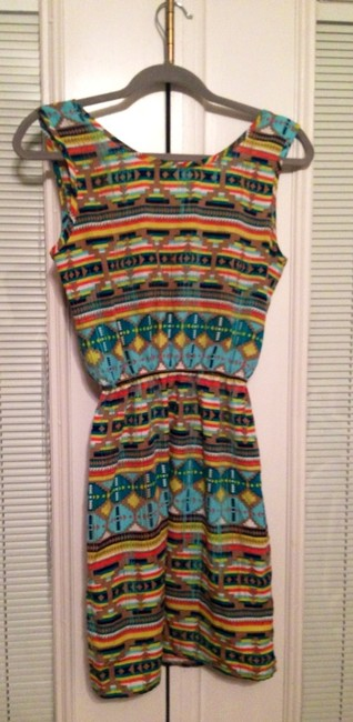 Necessary Objects short dress Multi Tribal Print Spring Cotton on Tradesy