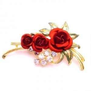 Golden Red Express Your Love Anytime W/ Rose Enamel Leaves Brooch/Pin