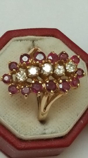 Other Estate Vintage 14k Yellow Gold Ring: 2.00cts Diamonds & Rubies Image 5