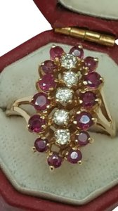 Other Estate Vintage 14k Yellow Gold Ring: 2.00cts Diamonds & Rubies