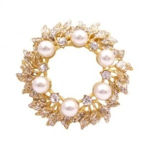 Gold Ivory The Intricate Plated Glittering Cubic Zircon Pearls Brooch/Pin
