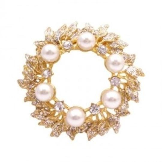 Preload https://item1.tradesy.com/images/gold-ivory-the-intricate-plated-glittering-cubic-zircon-pearls-broochpin-145790-0-0.jpg?width=440&height=440
