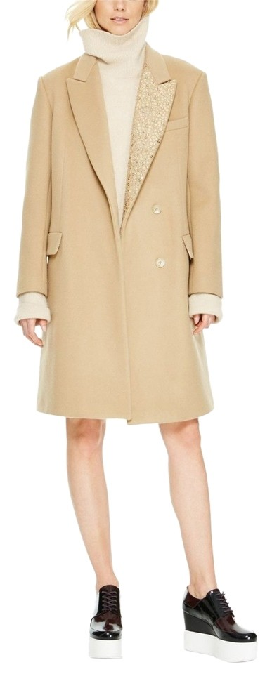 Donna Karan Camel New Runway Collection Sequin Lapel Coat Size 8 (M) 77%  off retail