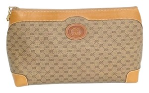Gucci Vintage Gg Logo Leather Brown Clutch