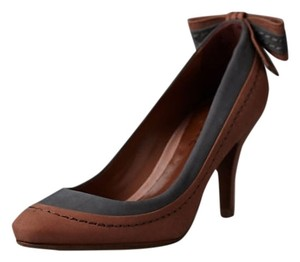 Anthropologie Leather Schutz Pump Deep Tan and Charcoal Pumps