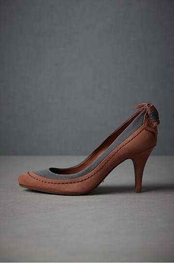 Anthropologie Leather Schutz Taupe Deep Tan and Charcoal Pumps Image 1