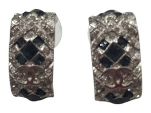 Chanel New authentic Chanel silver with black crystal earrings