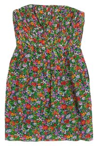 Shoshanna short dress Green Floral Print Strapless on Tradesy