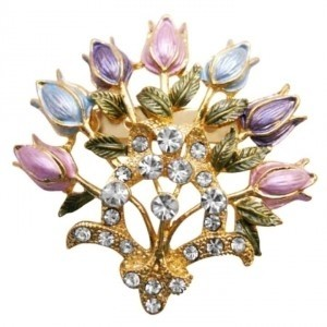 Gold Multicolor Enamel Floral Lotus Very Fancy Detailed Colorful Floral Brooch/Pin