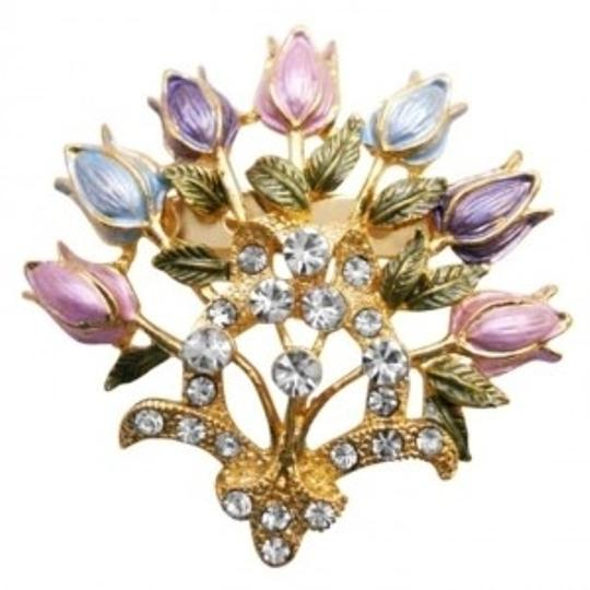 Enamel Floral Lotus Brooch Pin Very Fancy Detailed Colorful Floral Pin