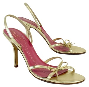 Kate Spade Gold Leather Sandal Heels Sandals