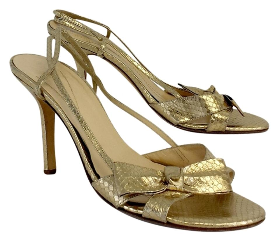 170cce532e9 Kate Spade Gold Fish Scale Print Leather Bow Heels Sandals Size US .