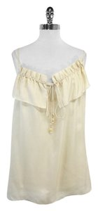 MILLY Champagne Ruffled Neckline Tunic