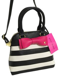 Betsey Johnson Satchel in Black White Pink