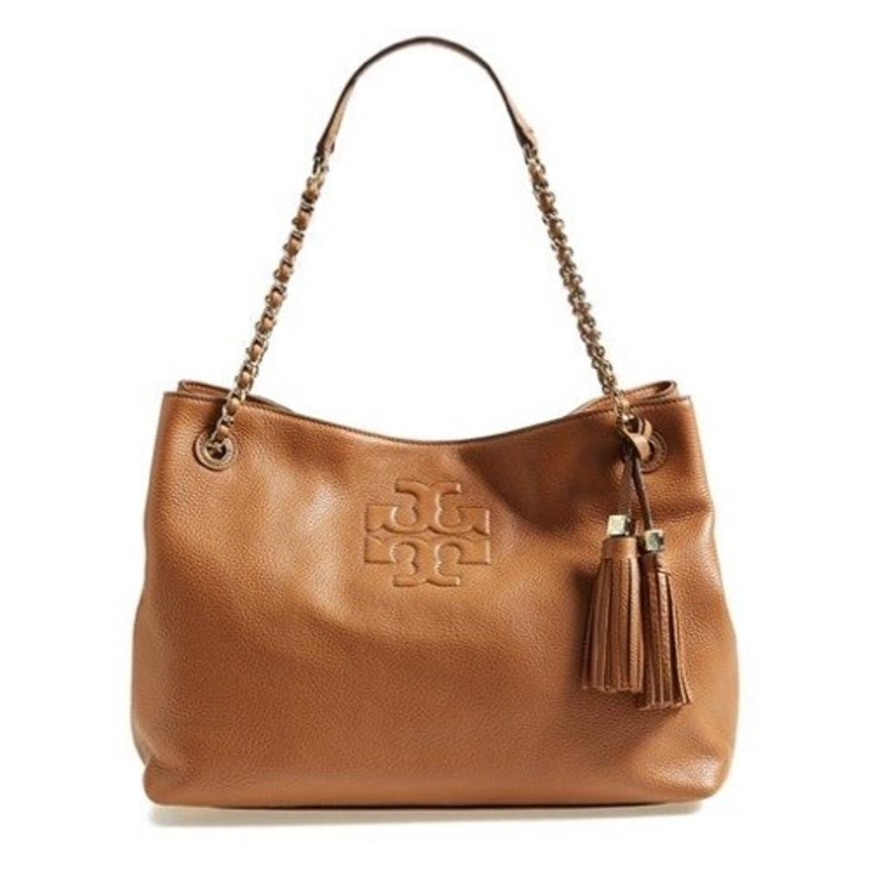 bfb4c888333 Tory Burch Thea Chain Shoulder Slouchy Batk Brown Tan Leather Tote ...