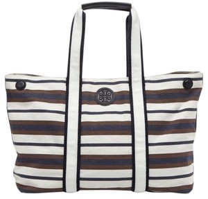 Tory Burch Blue White Brown Beach Bag
