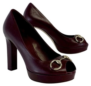 Gucci Burgundy Leather Stacked Peep Toe Pumps