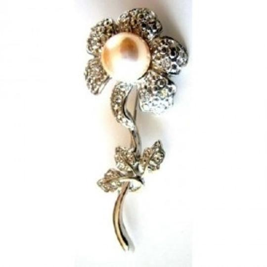 Silver Ivory Sun Flower Pearls Plated Stem Diamante Leaves Gift Brooch/Pin