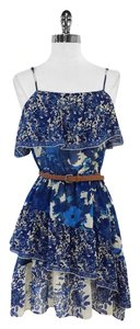 Joie short dress Blue Beige Tiered Floral on Tradesy