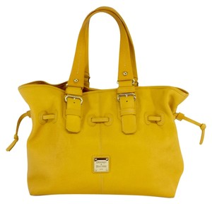 Dooney & Bourke Mustard Yellow Pebbled Leather Large Tote