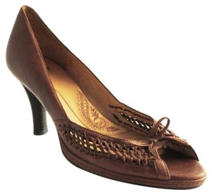 Erosoft by Sfft Woven Peep Toe Leather Brown Pumps