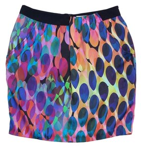 Trina Turk Multi Color Silk Oval Print Skirt