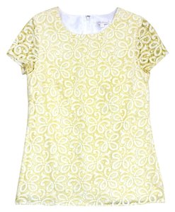 Shoshanna Yellow White Lace Short Sleeve T Shirt