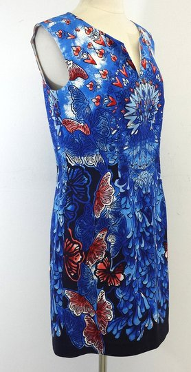 50%OFF Laundry by Shelli Segal Dress Blue & Red Butterfly Heart Print