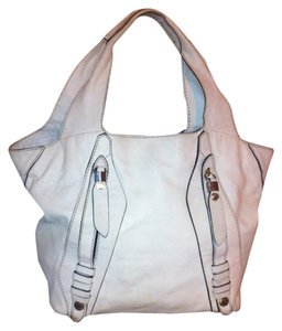 Anthropologie Gray Cloud Medium Leather Strawberry Fields Renee Oryany Tote in White