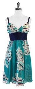 Catherine Malandrino short dress Teal Large Floral Print on Tradesy