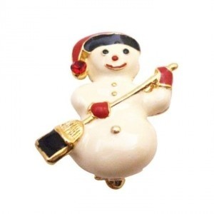 White Cute Snowman Christmas Smiling Snowman Winter Cake Brooch/Pin