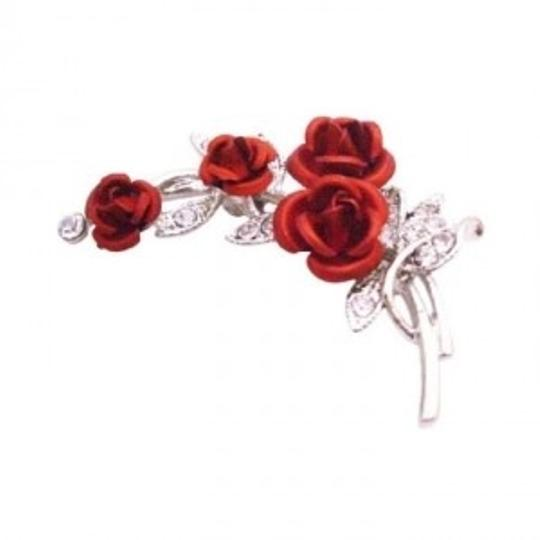 Silver Red Rose Bouquet Vintage Rose Flower Christmas Gift Brooch/Pin
