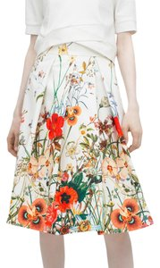 Zara Floral Summer Skirt White